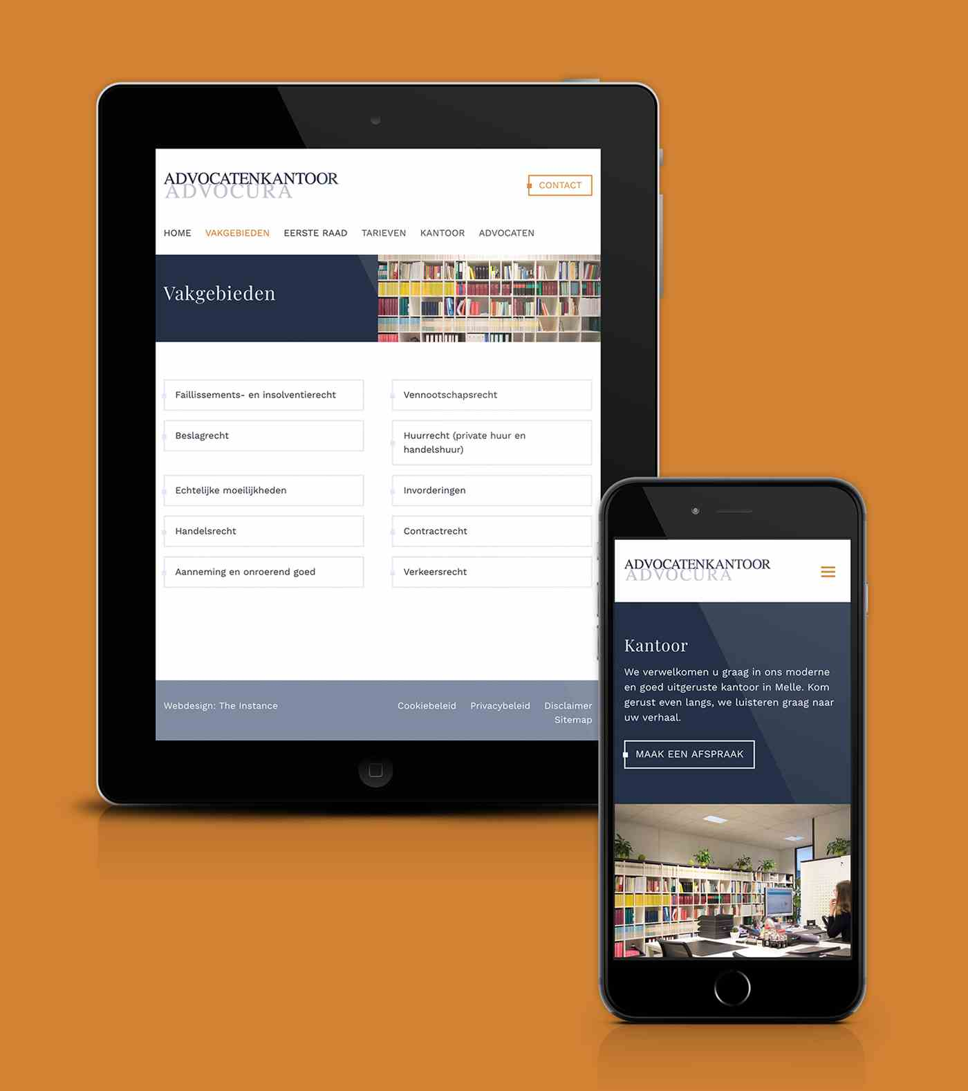 Advocura site Web preview tablette et smartphone
